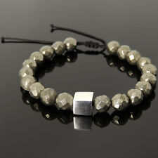 Sterling Silver Cube Bead Men's Braided Bracelet 8mm Faceted Gold Pyrite 1064M