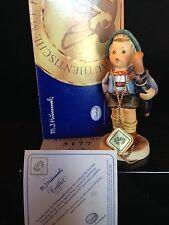 """GOEBEL M.I. HUMMEL """"HOME FROM MARKET"""" #198/2/0 50TH Anniv. w/Medal, Box & Cert."""