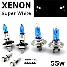 H1 H7 55w SUPER WHITE XENON Upgrade Headlight Bulbs Set Hi Lo Beam + T10 5SMD A