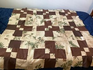 """Quilt top unfin, 43x43"""" lt brown/brown 5"""" square 9/4 patch ship free"""