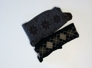 $49 NWOT 2 HUE tights knit gray with brown tall L & Black argyle