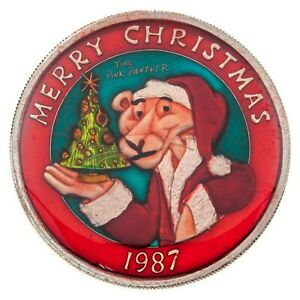 Pink Panther 1987 Merry Christmas 1988 Happy New Year 1 oz. Silver Enamel Paint