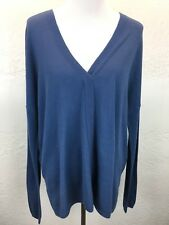 #S22 NEW $245 Vince XL Wool Cashmere Lightweight Double V-Neck Sweater Blue
