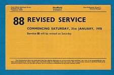 Bus Timetable ~ Sheffield Transport - 88: Fulwood to Roscoe Bank via City - 1970