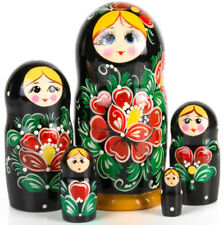 "Russian Nesting Doll w// Floral Patterns Strawberry 5 pc 6.5/"" Hand Painted Russia"