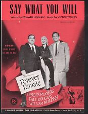 Say What You Will 1953 Forever Female Ginger Rogers William Holden Sheet Music