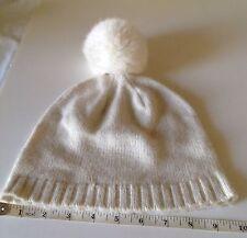 BCBGmaxazria Knit Hat Wool blend  With Genuine Rabbit Fur Ball Unisex NEW