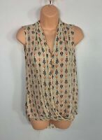 WOMEN ZARA SIZE SMALL COLOURED PATTERN SLEEVELESS CASUAL V NECK BLOUSE SHIRT TOP