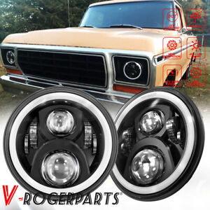 """Fit For 1953-1977 Ford F-100 F-250 F-350 Pickup Pair 7"""" LED Projector Headlights"""