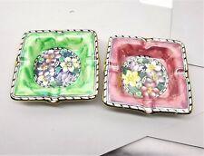 Vtg Maling Lusterware Ashtray Pair Art Deco Floral Stoneware England Clematis