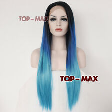 Lace Front Wig Mixed Blue Mixed Black 26'' Women Girls Heat Resistant Hair