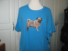 NEW  FAWN PUG FULL BODY VIEW EMBROIDERED T-SHIRT ADD NAME FOR FREE