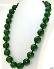 "Handmade Natural Green Jade 16MM Round Gemstone Beads Necklace 18"""