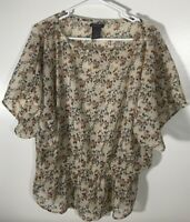 Women's Top Size XL Semi Sheer Blouse Beige Orange Green Blue Floral Ribbed