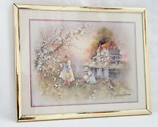Andres Orpinas Picture of 2 Girls Picking Flowers with Colonial House-Signed