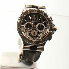 BVLGARI Diagono Calibro 303 Blue Exotic Leather Strap Watch