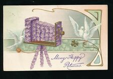 Greetings Birthday violets Flower Camera + birds doves Art Nouveau  PPC 1906