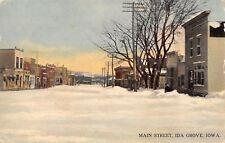 Ida Grove Iowa~Main Street in Winter~Snowbanks~Stores & Business~1913 Postcard