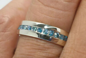 Pompeii 3 1-1/5ct Blue Diamond Channel Set Eternity Ring 14K White Gold Size 10
