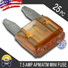 25 Pack 7.5A Mini Blade Style Fuses APM/ATM 32V Short Circuit Protection Fuse US