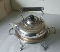 ANTIQUE SILVER PLATED SPIRIT KETTLE - ARTS CRAFTS - DRESSER STYLE- JOHN COLLYER
