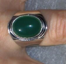 NATURAL GREEN ONYX 925 SILVER PLATED RING SZ 8 ONYX IS THE SOOTHING STONE- RELAX