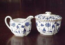 Spode Copeland Colonel England Blue White China Creamer Lidded Sugar Antique VTG