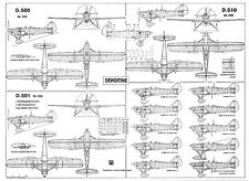 PLS-72051 1/72 Dewoitine D.500/501/510 Full Size Scale Plans (A2 format page)
