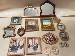 Dolls house mixed lot pictures, paintings, mirrors overmantle mirrors