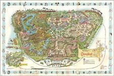 vintage 1962 DISNEYLAND MAP collectors poster CREATIVE COLORFUL 24X36 rare