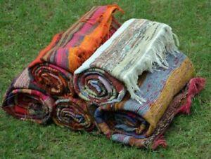 Indian Handmade Cotton Rag Rug Throw Living Room Woven Dhurrie Bohemian Yoga Mat