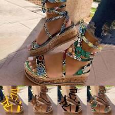 Womens Flat Wedge Summer Sandals Ankle Lace Up Platform Espadrilles Shoes new
