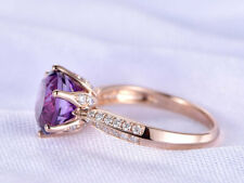 2Ct Round Cut Amethyst Diamond Solitaire Engagement Ring 14K Rose Gold Finish