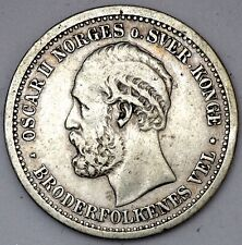 1877 NORWAY SILVER 1 ONE KRONE COIN VF