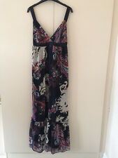 LADIES NEXT EMPIRE LINE BLACK PATTERNED MAXI / EVENING DRESS  SIZE UK 12  EUR 40