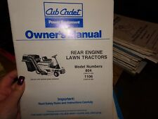 Cub Cadet Owner'S Manual Rear Engine Lawn Tractors Model #804 And #1106
