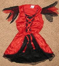Red Black Girl Lg 6-8 Halloween Velvet Costume Dress