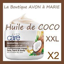 2 X HUILE de COCO Creme HYDRATANTE Mains Visage et Corps AVON : MEGA POT XXL