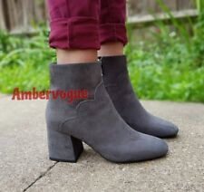ZARA NEW GREY ANKLE BOOTS BLOCK HEEL SIZE UK 7 EURO 40