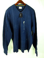Threads And Heirs Men's Long Sleeve V-Neck Sweater Navy Blue Large New With Tag