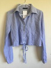 Brandy Melville white/blue striped collared button up tie front shirt NWT S/M