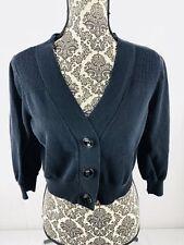 Worthington Woman's Short Button Up Cardigan Sweater Black Size Large