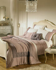 Riva Home Romantica Embellished Satin Luxury Cuff Double Duvet Cover Set Heather