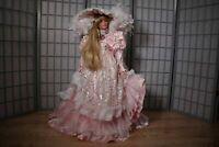 """Rare 36"""" Rustie Shanel Designer Porcelain Doll Pink Victorian Dress Blonde- LE"""