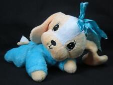 CREAM WHITE BABY PUPPY DOG PAJAMA BLUE SATIN BOW LAYING DOWN YANEY DESIGN PLUSH