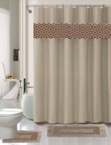 15PC BATHROOM BATH MAT SET RUG CARPET FABRIC SHOWER CURTAIN COVERED RINGS PRINT