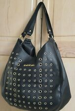 GENTLY USED BEBE Hallie Triple Entry Black Tote Bag with Gold Grommets