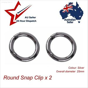 Round Carabiner Alloy Spring Snap Clip 25mm Silver. key chain keys ring camping