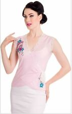 HELL BUNNY baby pink Kyoto japanese inspired retro pin up chiffon wrap blouse L