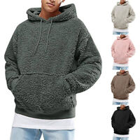 Mens Outerwear Pullover Winter Fluffy Jumper Top Sweatshirt Hooded Hoodie